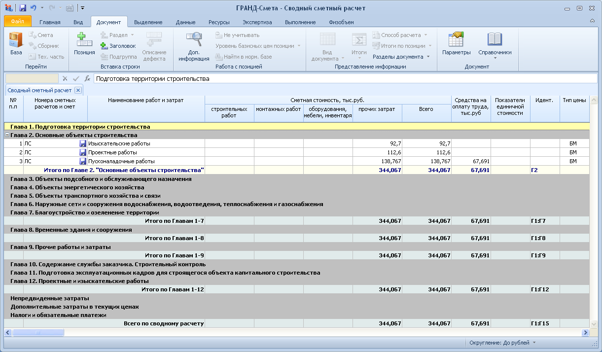 бланк сводного сметного расчёта стоимости строительства